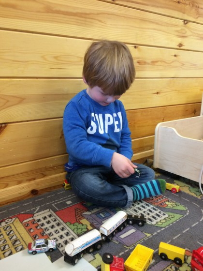 Seems he'll find toy trains to play with wherever we go