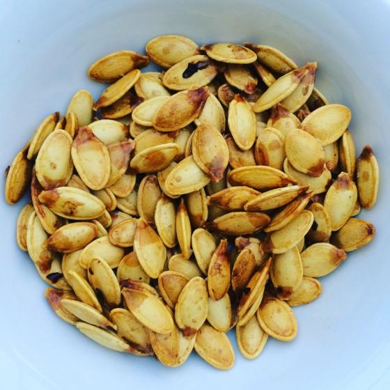 Salt & Chilli homegrown pumpkin seeds - the boy's new favourite