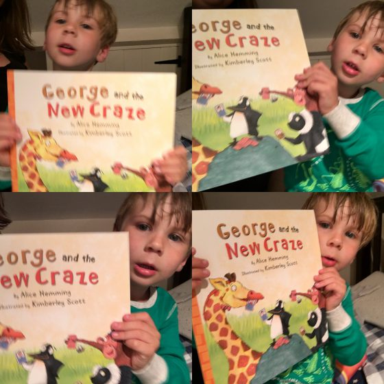 Oscar loved the book so much he wanted to 'show the people' what he was reading. The concept of sharing rubbing off already! Apologies for the picture quality. That he wanted to share it at all makes up for all the blurry shots I got!